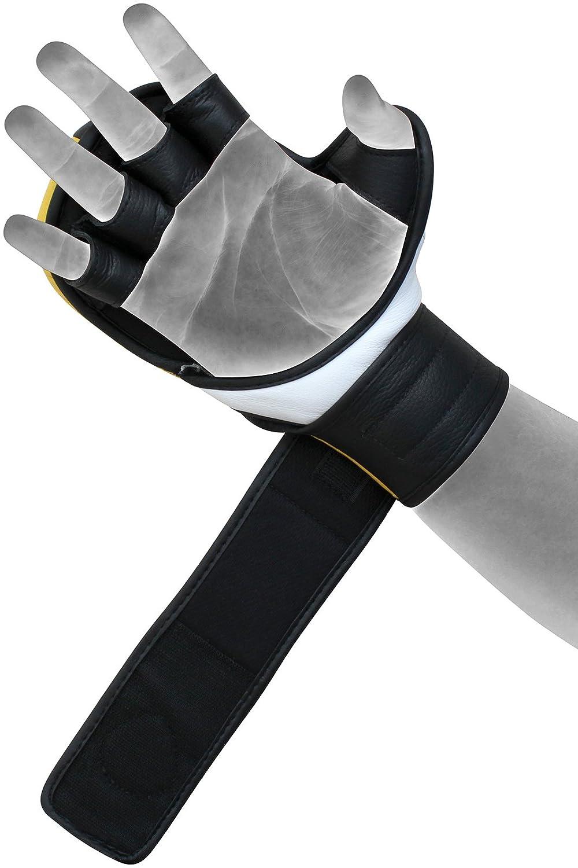RDX Pelle di Vacchetta MMA Guantoni Grappling Sparring Guanti Sacco Allenamento T6