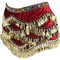 CLISPEED vrouwen buik dans heup sjaal munten rokken wrap buikdans franje riem sjaal hoofddoek taille ketting prestaties…
