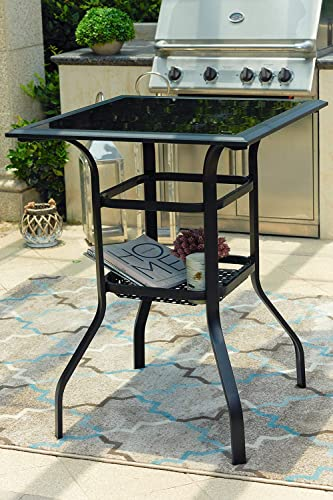 Festival Depot 3ft Bar Height Outdoor Patio Bistro Dining Table Metal Steel Side Table Tempered Glass Top w Storage Support Shelf 27.6 x 27.6 x 36.2 H
