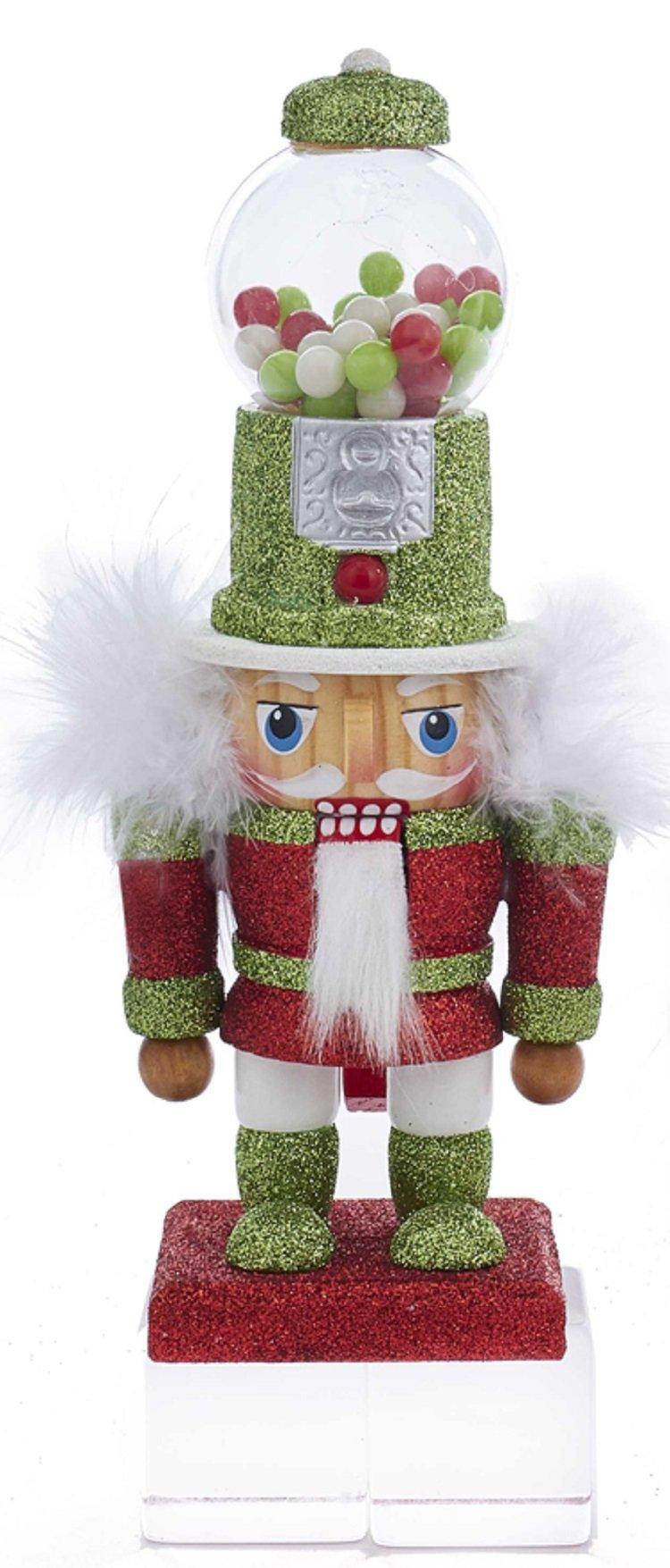 Kurt Adler HA0419 8.5'' Green Glitter Penny Candy Machine Hat Nutcracker