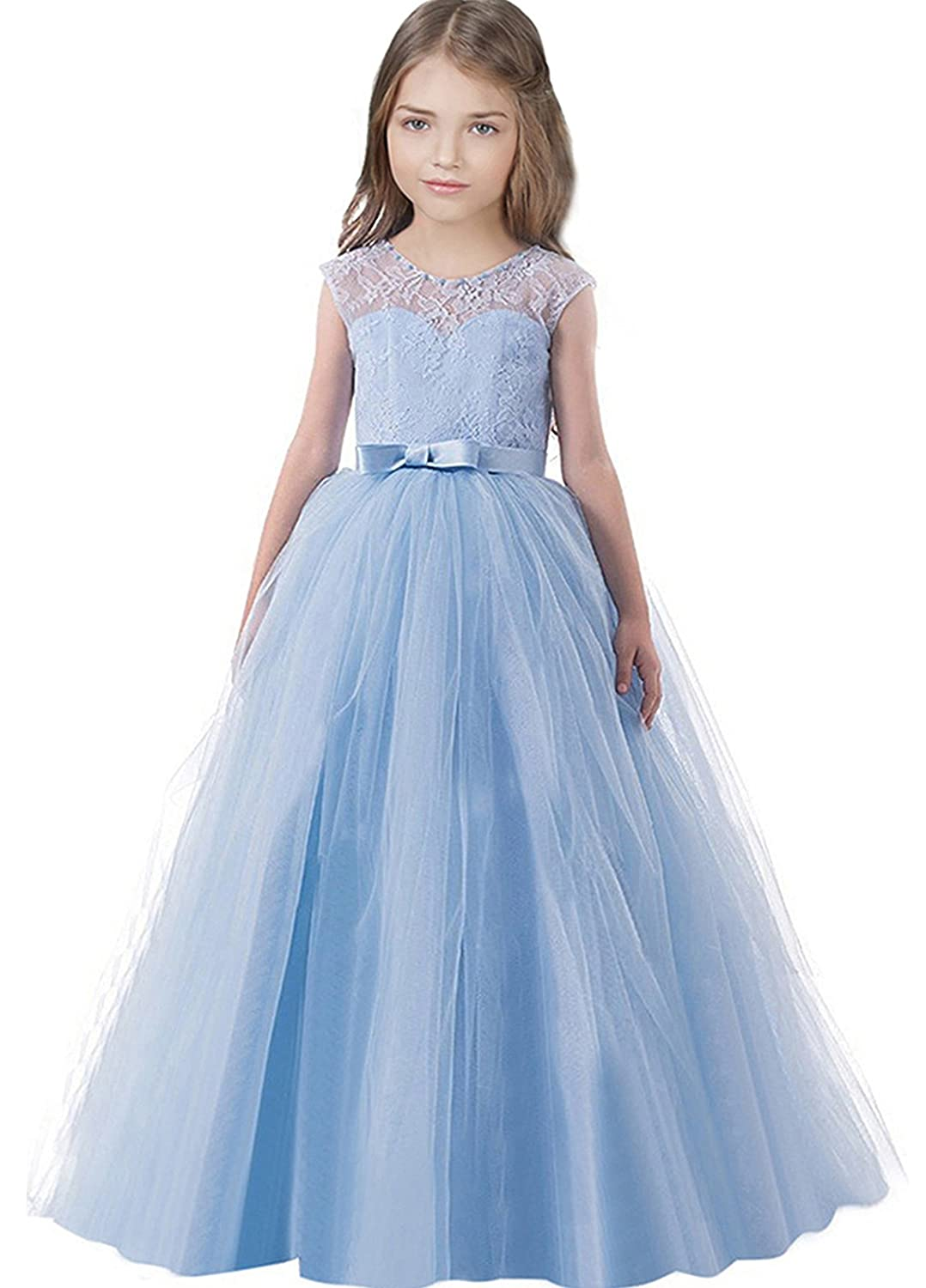 Amazon.com: TTYAOVO Sleeveless Chiffon Embroidered Ball Gown Girls ...