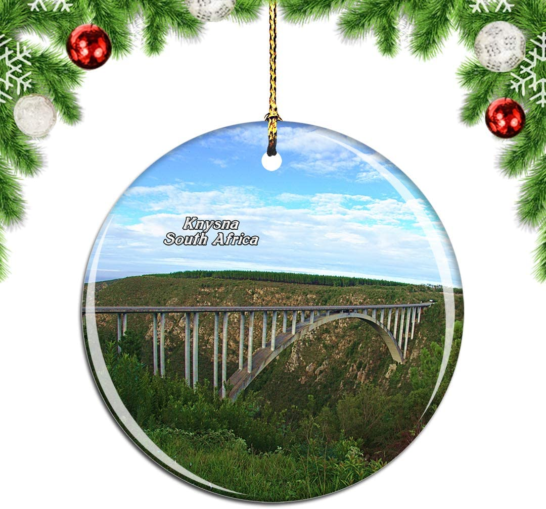 Weekino South Africa Garden Route Knysna Christmas Xmas Tree Ornament Decoration Hanging Pendant Decor City Travel Souvenir Collection Double Sided Porcelain 2.85 Inch