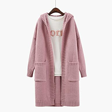 8b56524b684 Image Unavailable. Image not available for. Color  Women Long Sweater  Cardigan 2017 Female Autumn Korean Loose Hooded coarse Wool Coat ...