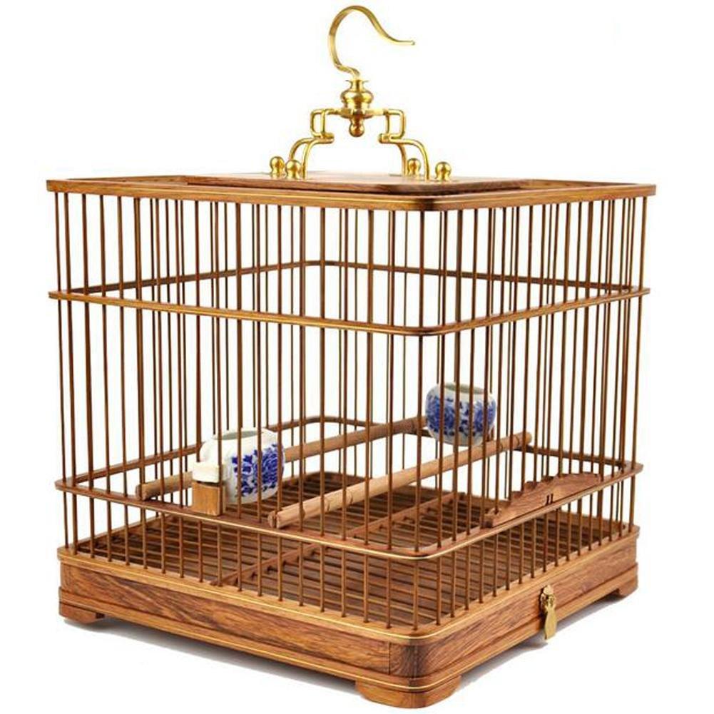 JiaYue main Poires Bois Rectangle Cages à oiseaux Brass Hook Up Même Texture Plancher Jaune 26x26x26CM, Yellow, 26x26x26CM