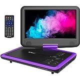 """ieGeek Lecteur DVD Portable 11.5"""" avec Écran Pivotant 9.5"""", Batterie Rechargeable de 5 Heures Jouer, Supporte Carte SD et Chargeur de Voiture Compatible avec AVI/RMVB/JPEG – Violet"""