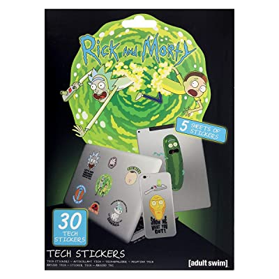 Pack of 30 Genuine Rick and Morty Portal Adventures Tech Stickers Gadget Decals: Arts, Crafts & Sewing