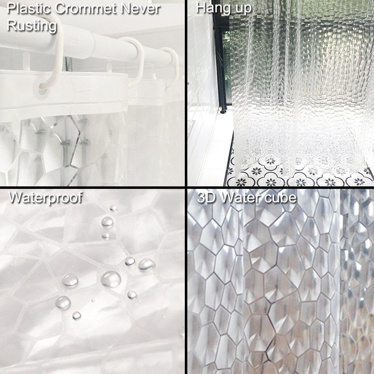 ... cubo de agua 3D 71 x 71 pulgadas [180 x 180 cm] 12 agujeros de EVA cortina de ducha antibacteriana anti-moho bañera: Amazon.es: Hogar