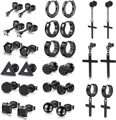 18 Pairs Stainless Steel Cross Dangle Stud Earrings Ear Piercing Screw Back Set