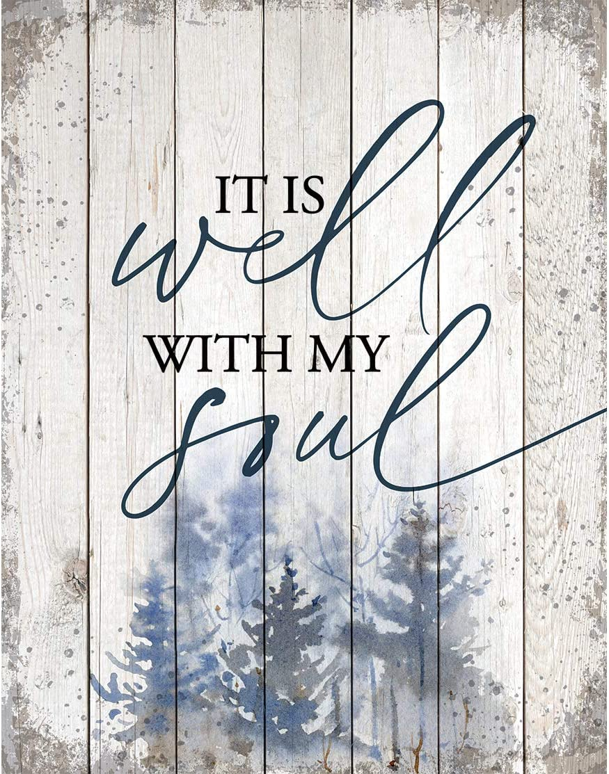 Wood Plaque Inspiring Quote 11.75 in x 15 in - Classy Vertical Frame Wall Hanging Decoration   It is Well with My Soul   Christian Family Religious Home Decor Saying