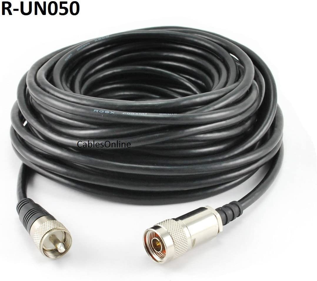 CablesOnline 50ft Premium Grade RG8x Coax UHF R-UN050 PL259 Male to N-Type Male Antenna Cable