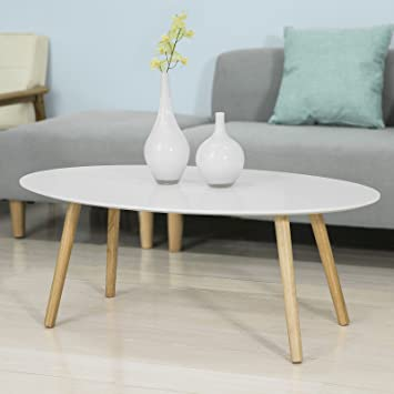 Wooden Coffee Table.Sobuy Fbt61 W Oval Wooden Coffee Table Living Room Table Amazon