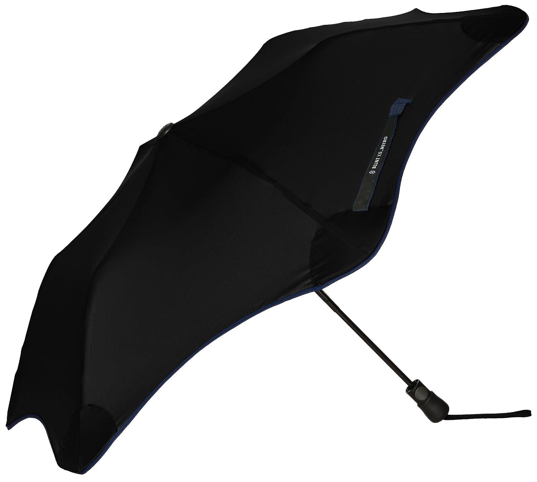 (ムーンバット) MOONBAT ブラント METRO 婦人折りたたみ傘 (耐風傘) 無地×パイピング B078758KZ1  ブラック 日本 親骨の長さ51cm-(FREE サイズ)