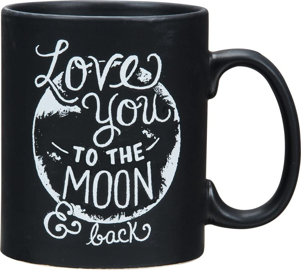 Primitives by Kathy 24358 Chalk Art Stoneware Coffee Mug, 20-Ounce, Love You To the Moon and Back