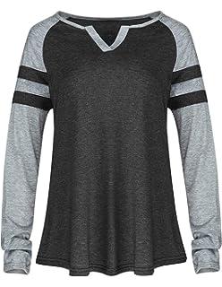 a9d0f6a486 Ray-JrMALL Women Raglan Shirt Long Sleeve Casual Striped Pullover Baseball  Loose Sweatshirt Tops Tee