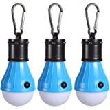 PEMOTech Unisex [3Pack] Mountaineering Buckle Portable Lantern Emergency Tent LED Light Bulb for Home, Fishing, Camping, Hiking,Backpacking and Other Indoor and Outdoor Activities,Battery Powered and Water Resistant Gift, Blue
