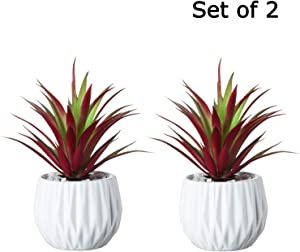 Artificial Succulent Plants in White Ceramic Pots - Fake Red Greenery Cacti Bonsai Plant Shelf Decor - Faux Grass Set (7.5 Inch, Red - 2 PCS)