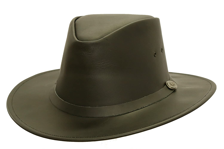 Klassischer Lederhut in schwarz und braun, Hutband in Lederfarbe von Kakadu Australia 2.Wahl Kakadu Traders Australia Ahats6H20