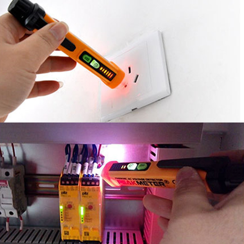 12V-1000V AC Inductive Electric Tester Pen Non-Contact Voltage Tester Electric Voltage Detector Pen with Alarm LED Flashlight