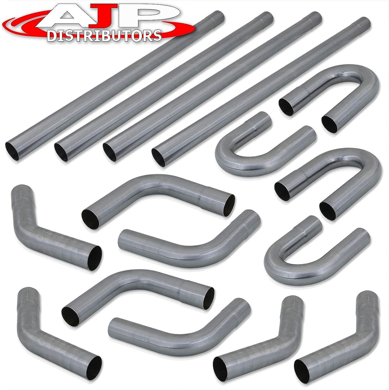 "2.5/"" OD Custom Exhaust Pipe Tubing Kit 16pcs Straight /& 45 90 Degree /& U-Bends"