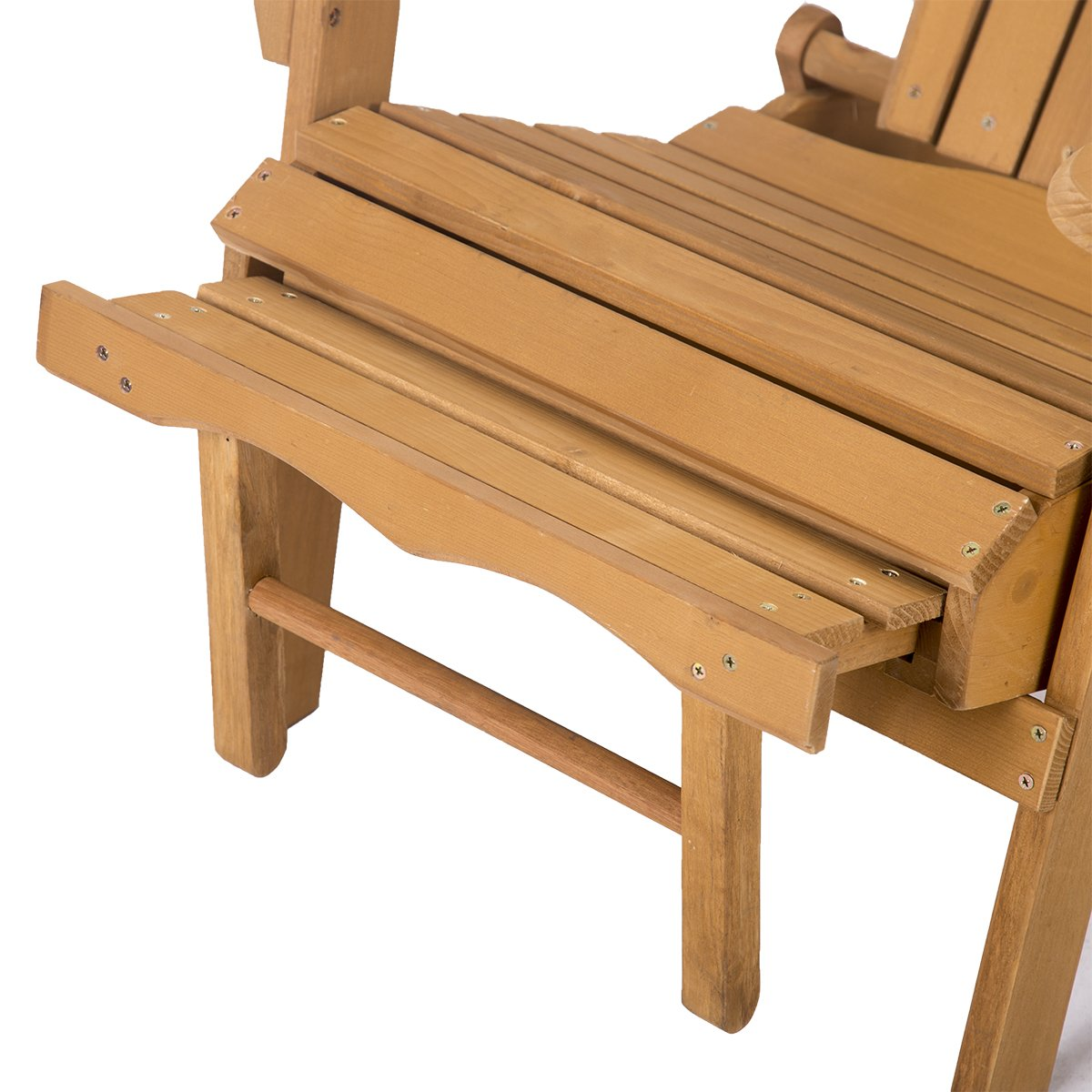 FDW Outdoor Wood Adirondack Chair Foldable w/Pull Out Ottoman Patio Furniture by FDW (Image #4)