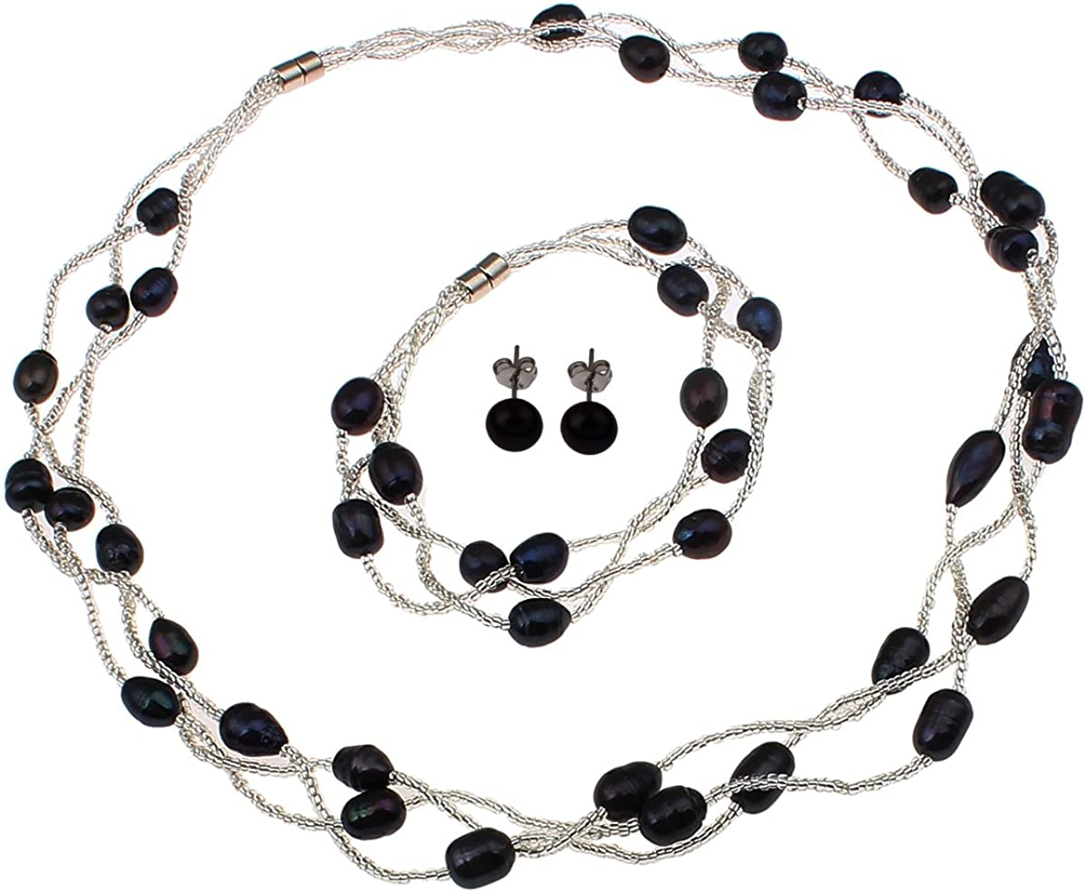 TreasureBay - Conjunto elegante de collar, pulsera y pendientes de perlas naturales de agua dulce de color azul oscuro, presentado en una bonita caja de regalo