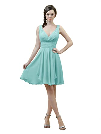 8e28ab98229 Alicepub V-Neck A-Line Bridesmaid Dress Short Chiffon Cocktail Evening  Party Dress