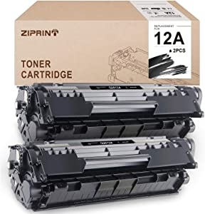 ZIPRINT Compatible Toner Cartridges Replacement for HP 12A Q2612A for HP Laserjet 1010 1020 1012 1022 1022n 3015 3055 1018 3030 Canon Imageclass D420 D450 D480 MF4150 MF4350D MF4270(Black, 2-Pack)