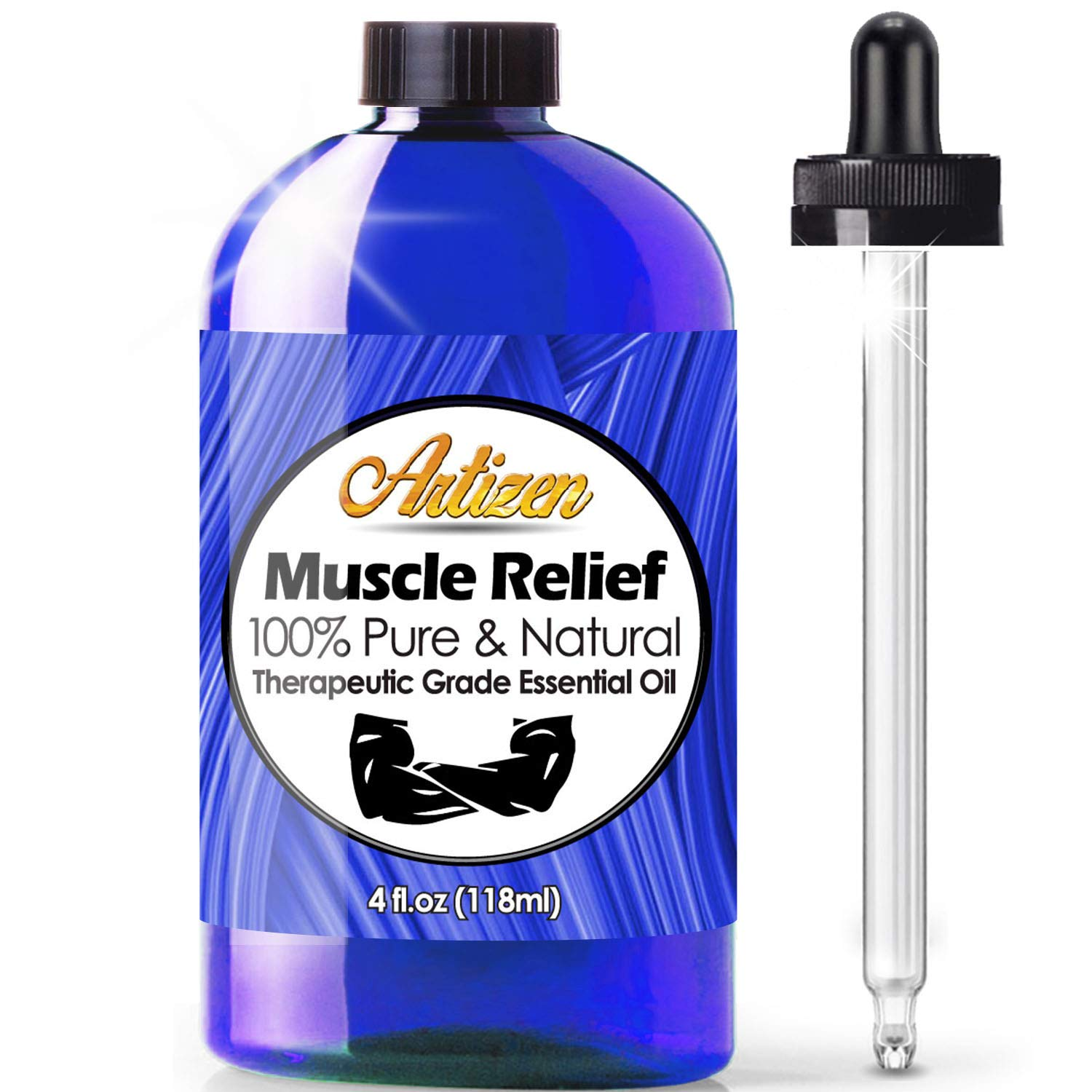 Artizen Muscle Relief Blend Essential Oil (100% Pure & Natural - UNDILUTED) Therapeutic Grade - Huge 4oz Bottle - Perfect for Aromatherapy, Relaxation, Skin Therapy & More!