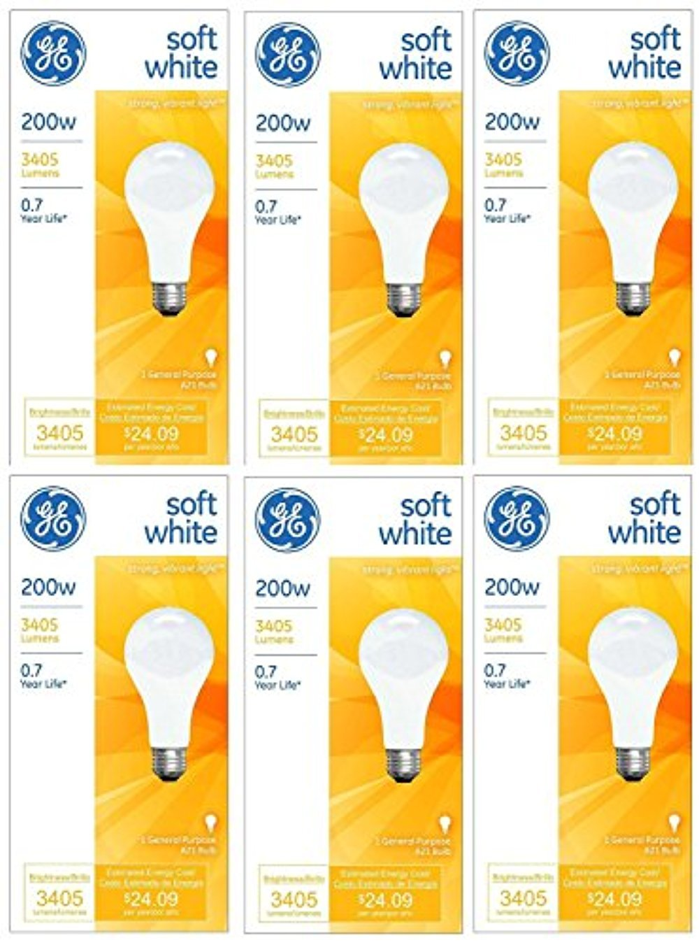 GE 11585-4 A21 Incandescent Soft White Light Bulb, 200-Watt, 6-Pack