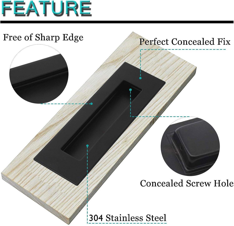 1 Pack Probrico Black Flush Pull Rectangular Sliding Door Pull Stainless Steel Recessed Sliding Barn Door Handle Free of Sharp Edge Flush Finger Pull 4.72 Length Sliding Flush Door Handle
