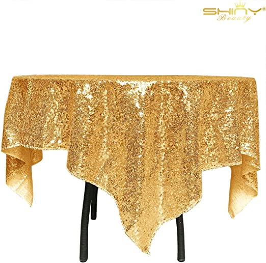 ShinyBeauty 60Inch Round-Sequin Tablecloth-Gold 2019 Sequin Table Cloth//Overlay//Cover Glitz Table Linen