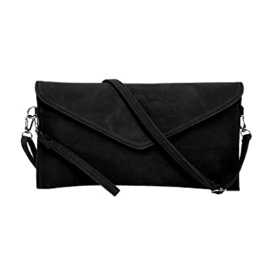 4c7055354861c Jieway Women s Faux Suede Clutch bag shoulder Handbag messenger envelope  bags (Black)(Size