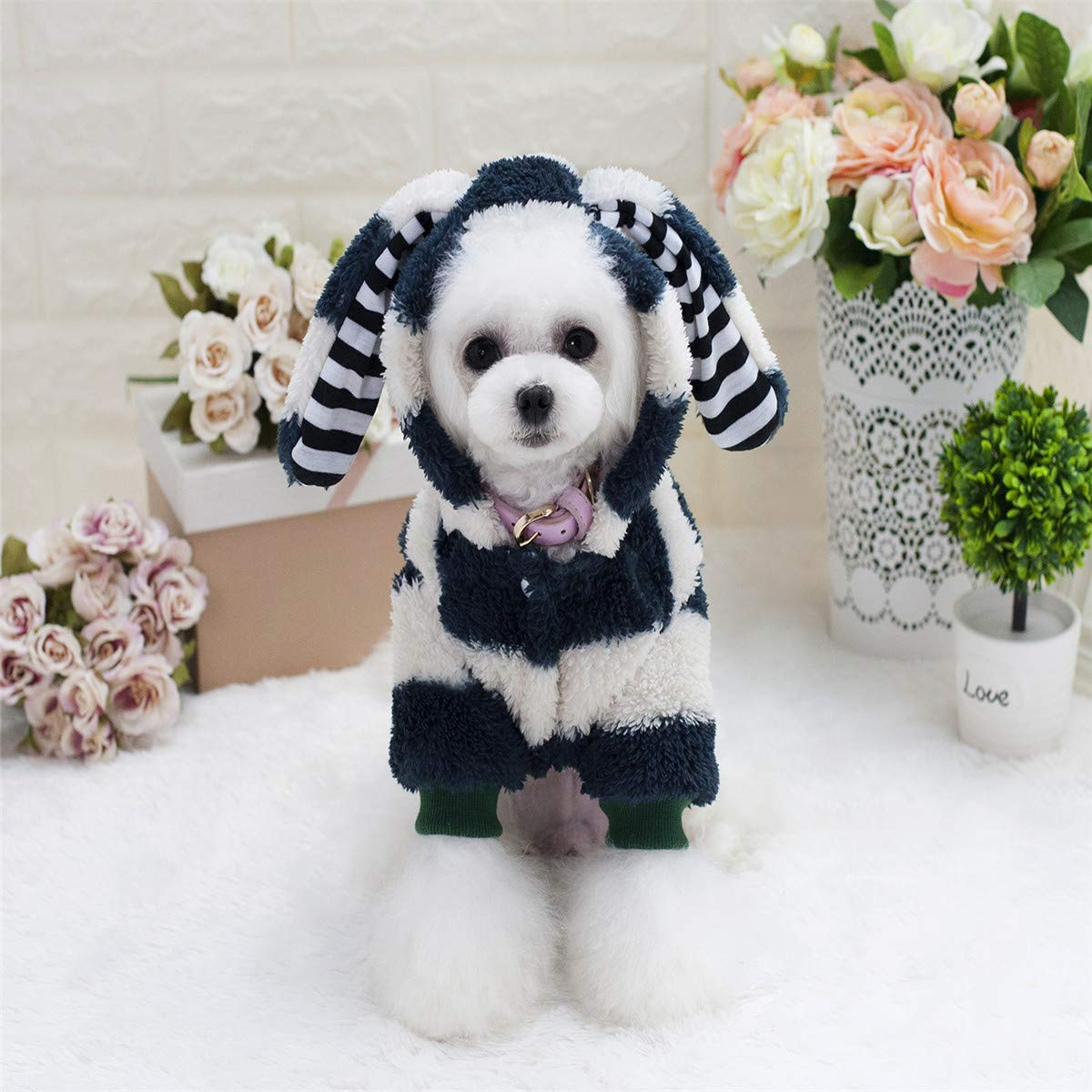 Green XXL Green XXL Party Pet Costume Dog Coat Autumn and Winter New Puppy Clothes Dog Clothes pet Clothing Big Ears Rabbit Two-Legged Fleece (color   Pink, Size   XXL) Pet Uniform (color   Green, Size   XXL)