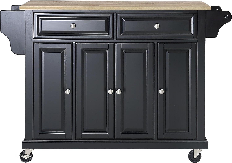 Crosley Furniture KF30001EBK Rolling Kitchen Island with Natural Wood Top, Black