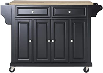 Crosley Furniture Rolling Kitchen Island with Natural Wood Top, Black