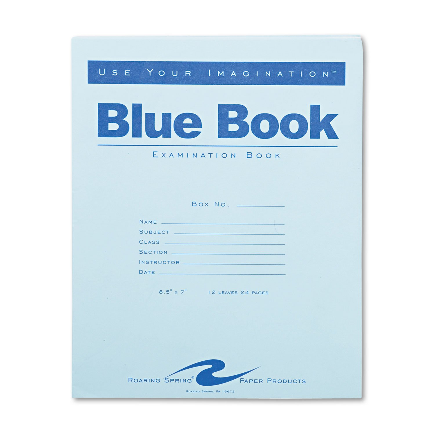 amazon com roaring spring exam blue book margin rule x  amazon com roaring spring exam blue book margin rule 8 1 2 x 7 inches white 12 sht 24 page 77513 exam notebooks kitchen dining