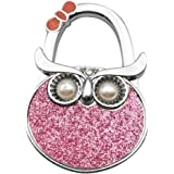 bobauna Colorful Animal Owl Shape Handbag Table Hook Folding Bag Desk Hanger Foldable Holder