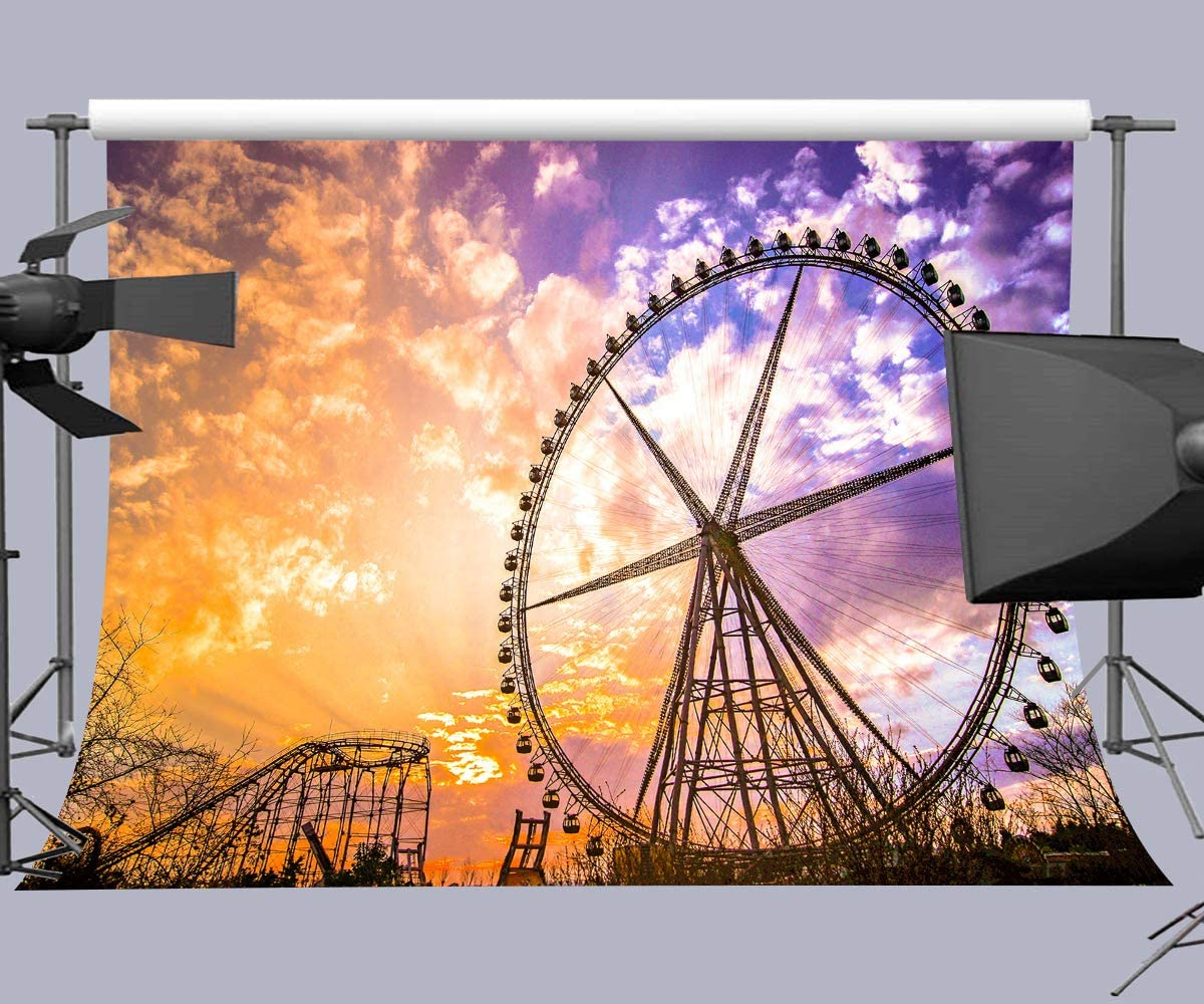 15x10ft Background Night Ferris Wheel Photography Backdrop Studio Photo Props HXFU153