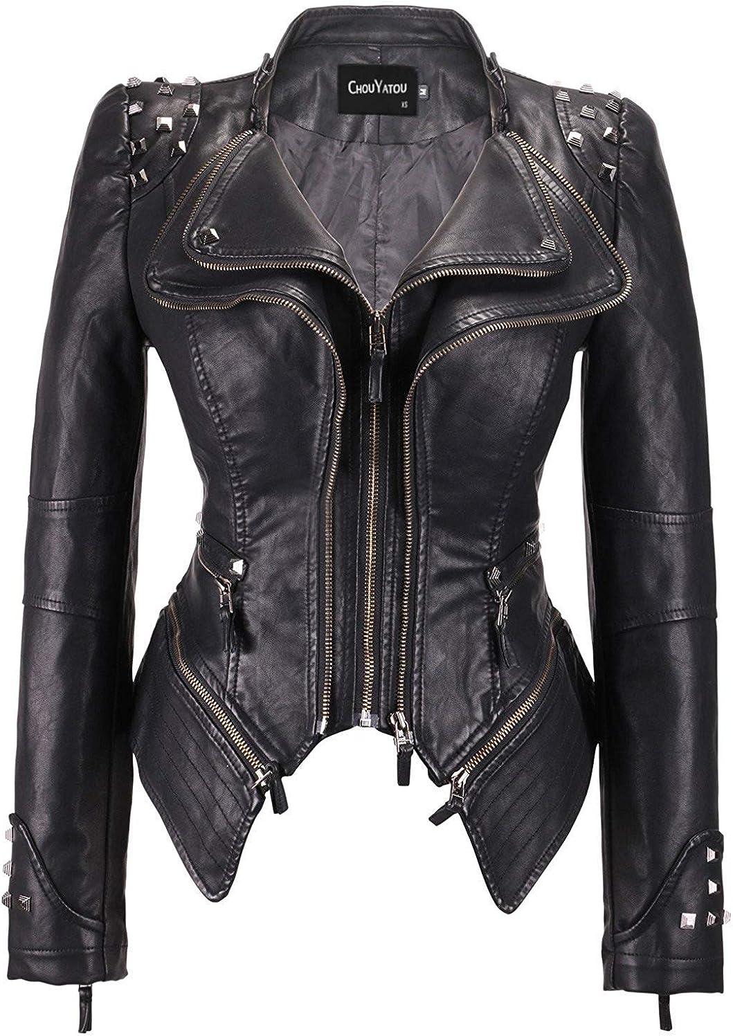 chouyatou Women's Fashion Studded Perfectly Shaping Faux Leather Biker  Jacket at Amazon Women's Coats Shop