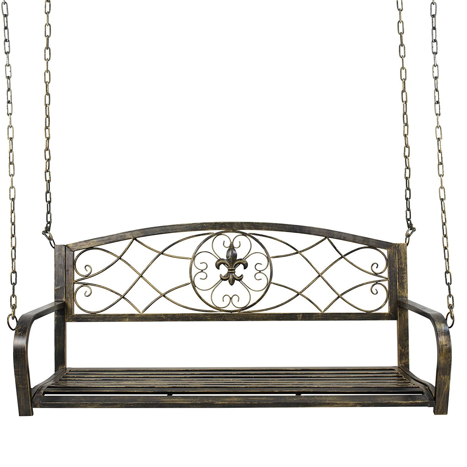 Outdoor Hanging Hammock Swing Bench Metal Fleur-De-Lis Patio Porch Furniture