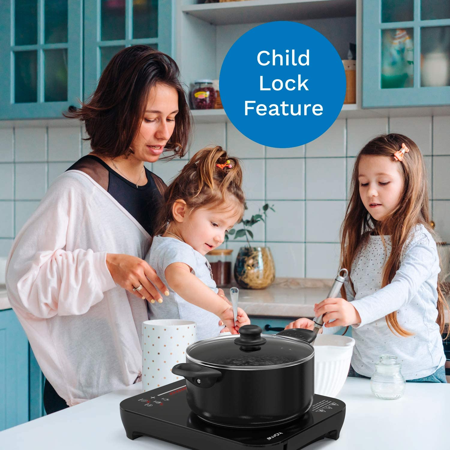 Features 10 Heating Levels hOmeLabs Portable Induction Cooktop Touch Controls and Child Safety Lock 6 Cook Modes Powerful Single Burner Electric Countertop Stove with Smooth Glass Surface