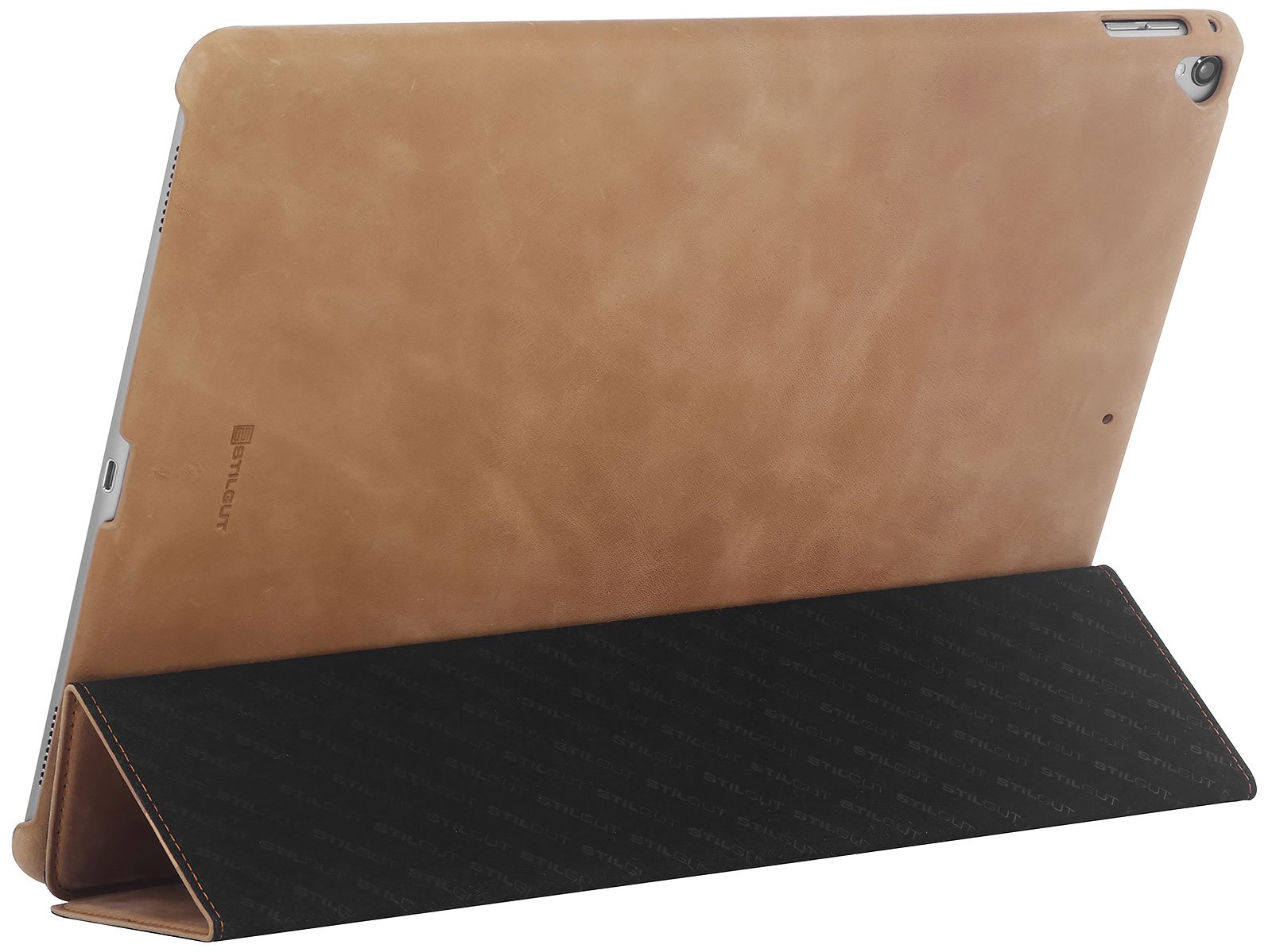 StilGut Case for Apple iPad Pro 12.9'' (2017 and Previous Editions), Genuine Leather Case with Folded Cover Design, Stand Function & Smart-Cover (Auto Sleep, Wake-up), Cognac Vintage