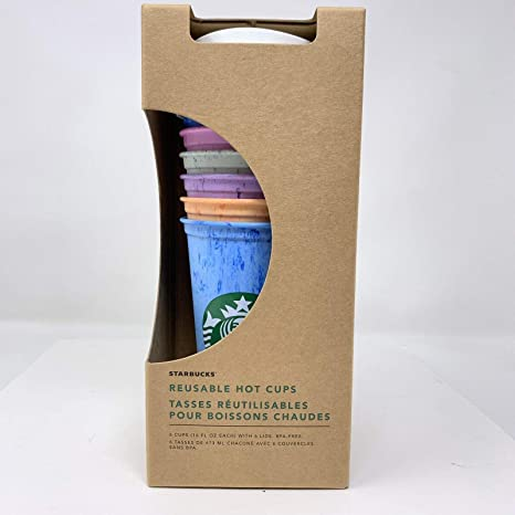 Starbucks Reusable Hot Cup Collection Pack Of 6 W Lids 16 Oz Summer 2019