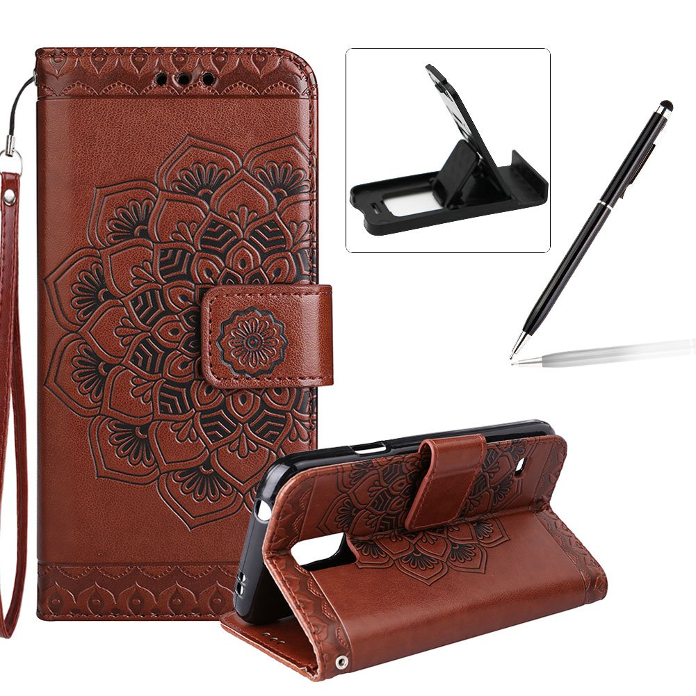 Rope Leather Case for Samsung Galaxy S5, Strap Wallet Case for Samsung Galaxy S5, Herzzer Bookstyle Classic Elegant Mandala Flower Pattern Stand Magnetic Smart Leather Case with Soft Inner for Samsung Galaxy S5 + 1 x Free White Cellphone Kickstand + 1 x Fr