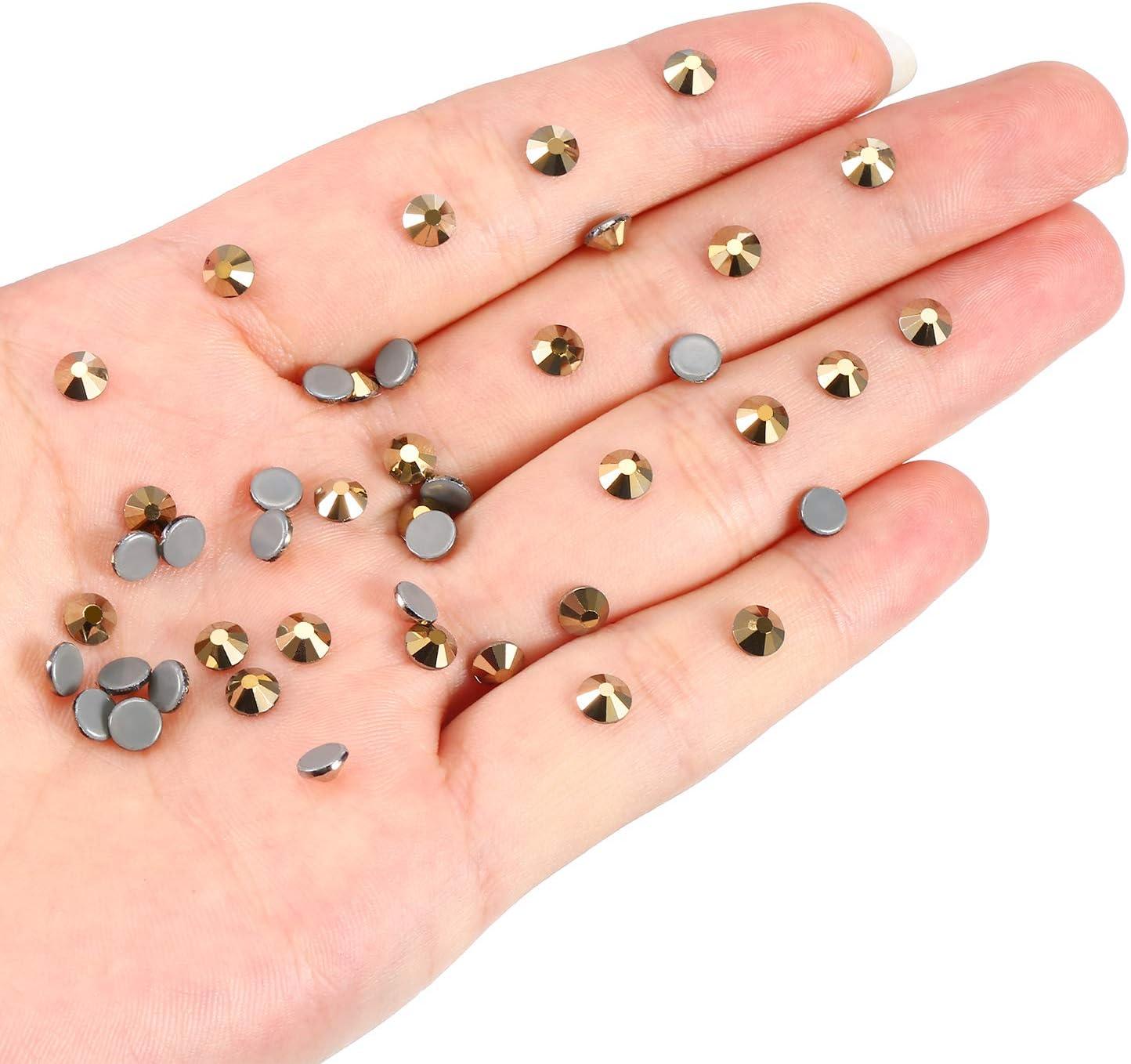 WILLBOND 1440 Pack Hot Fix AB Crystals Flatback Hotfix Rhinestones Round Gems Glass Stones Crystal AB, 4MM