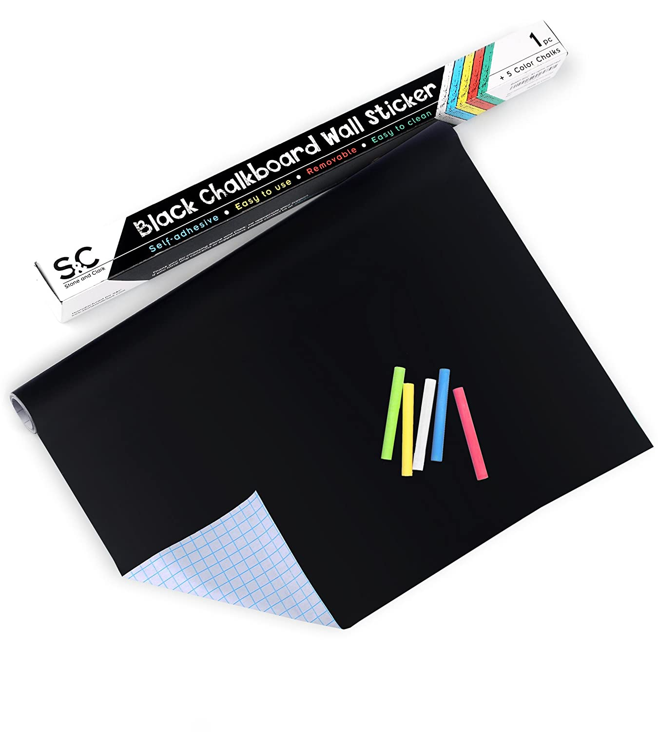 Chalkboard Stickers & Blackboard Paper with 5 Colored Chalks. Self-Adhesive Chalkboard Sticky Paper for DIY Projects. Easy to Apply, Use & Clean Black Roll Vinyl Board Stickers (Black)