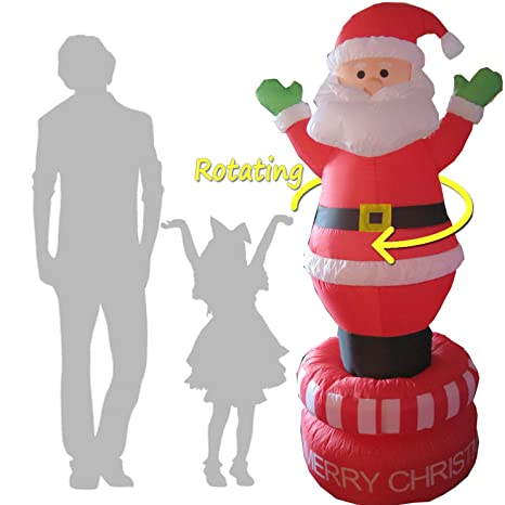 Christmas Inflatables Outdoor 4 santa wearing green mittens Electric Rotating 6 Foot Christmas Inflatables Santa Claus Airblown Decoration For Outdoor Giant Spinning Blow