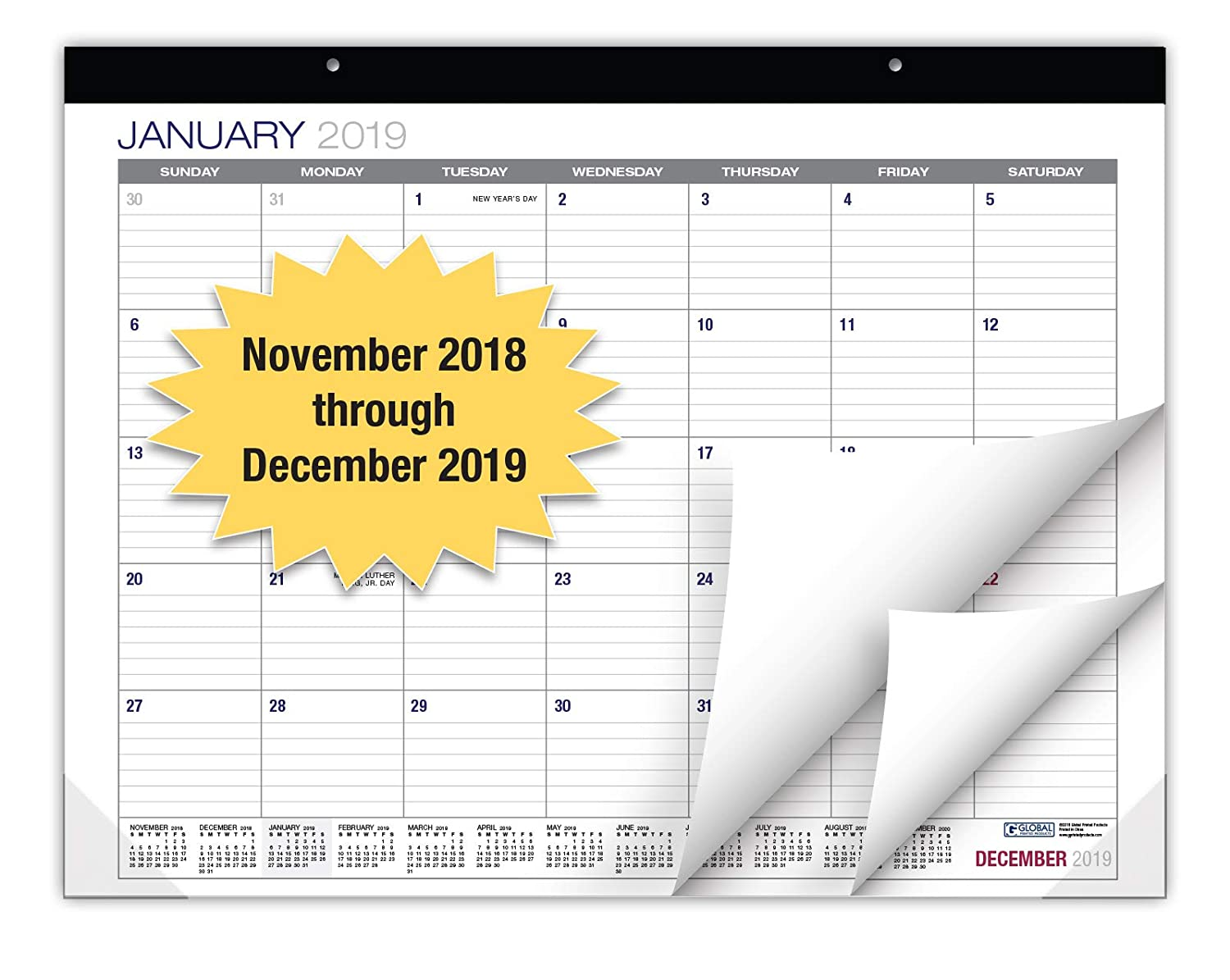 Professional Desk Calendar 2019: Large Monthly Pages - 22x17 - Runs from November 2018 Through December 2019 - Desk/Wall Calendar can be Used Throughout 2018-2019. Global Printed Products