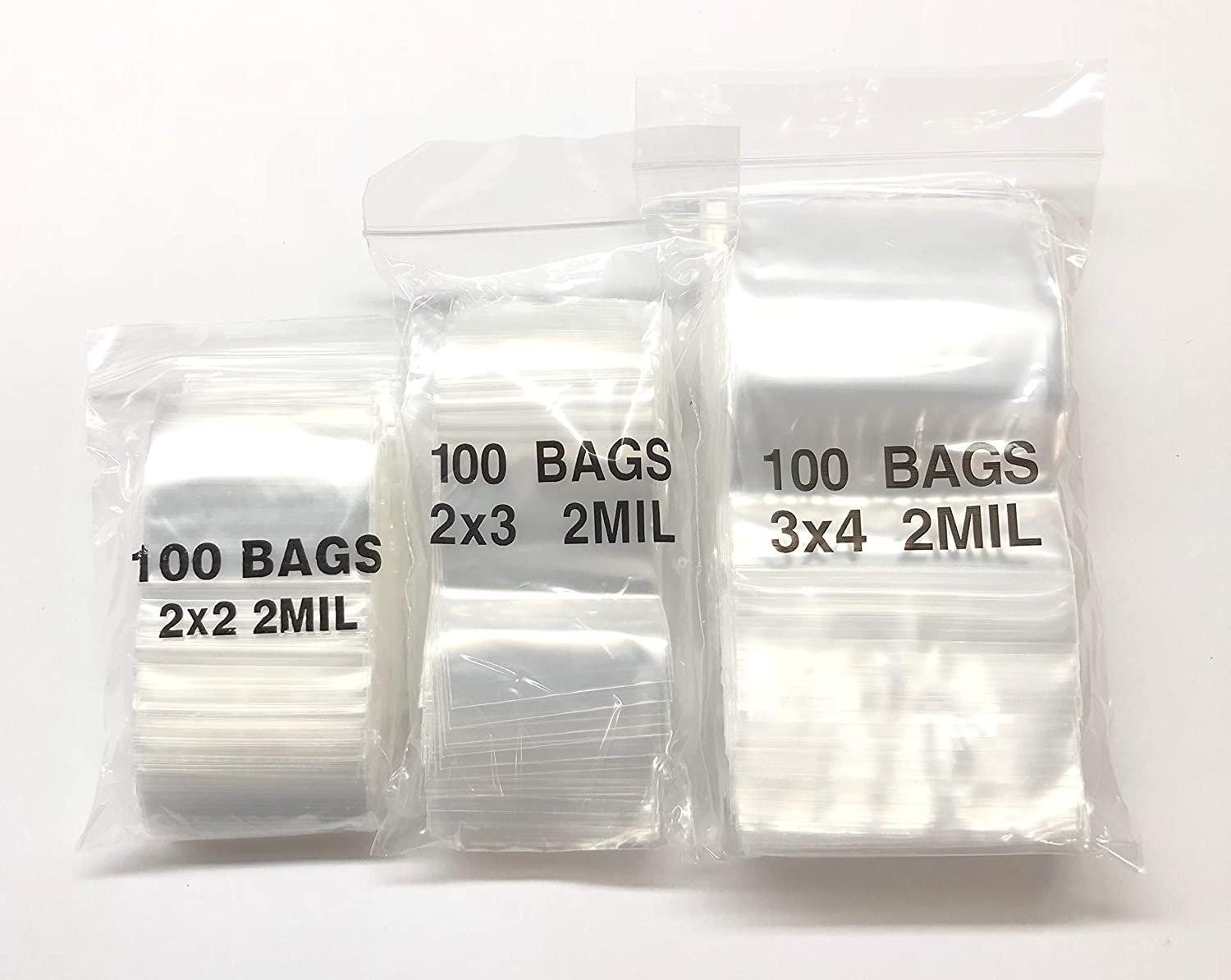 3 PACK 2x2 Inch Small Plastic Ziplock Bags 2 Mil Clear Baggies for Jewelry