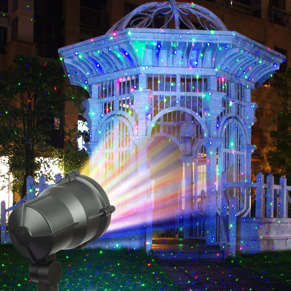 amazoncom escolite landscape lights rgb christmas laser lights star firefly projector spotlights ip65 waterproof outdoor lighting with wireless remote for - Christmas Laser Lights Outdoor